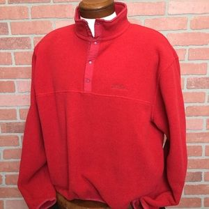 L L Bean fleece pull over jacket red large (4M20)